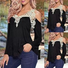 Black long sleeve with ivory lace