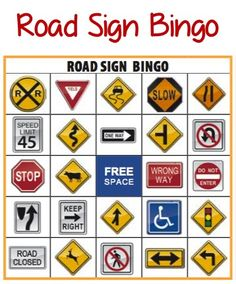Road Sign Bingo + More Printable Road Trip Games! #kids #travel *for all my friends who've been in Germany. Imagine using this with all the road signs there!!