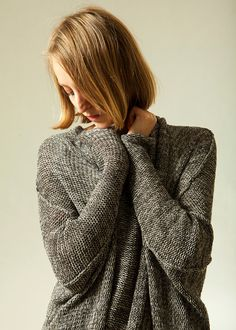 Chunky  oversize gray sweater Grey knitted cardigan by Toosha, $245.00