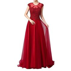 Riveroy Women's Long Formal Appliques Beaded Cap Sleeve Evening Gown Prom US2 Burgundy