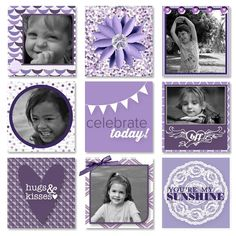 Nine mini scrapbook layouts on one page using My Digital Studio software from Stampin' Up!