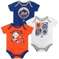 Your tiny fan can show off their New York Mets pride three different ways with this sweet little Onesie set! The shirts are made of a soft and stretchy cotton knit and each one is screen printed with a different design including official Mets team colors and logos. The fold over collar and triple snap closure at the bottom make for quick and easy changes sure to suit Mom & Dad.