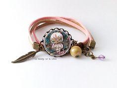 """Bracelet bronze cabochon """"La Chouette Musicale"""" : Bracelet par manegefantome"""