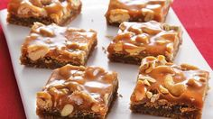 These blondies are moist and gooey with the crunch of cashews and the taste of caramel - sweet and salty bar cookies that make a decadent dessert.
