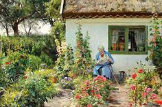 Peder Mønsted: Reading the newspaper in the garden