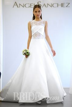 FALL 2015 WEDDING DRESS TRENDS: . Trend: Cutouts, silk Mikado ball gown wedding dress with sheer Chantilly lace panels on the waist and high neckline, and a twisted bodice detail by Angel Sanchez