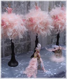 TEN Elegant PINK Feather Centerpieces with GOLD accents for Branda. $700.00, via Etsy.