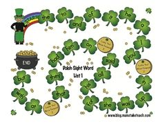 Free!!! Seven St. Patty's Day dolch sight word games....one open for adding your own targets!!!