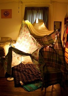 Blanket and pillow fort sleepover My New Room, My Room, Build A Fort, My Childhood Memories, Build Your Own, The Good Old Days, My Living Room, Barn, Pillows