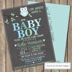 Customizable 5x7 Adorable Owl Baby Shower by JacOfAllTradesDesign, $18.00