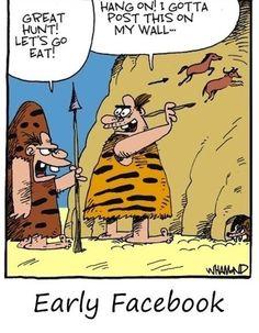 Prehistoric Facebook... For more great humor visit www.bestfunnyjokes4u.com/lol-best-funny-cartoon-joke-2/