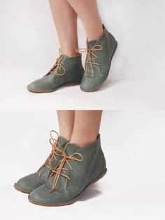 Leona in Vintage Green  Handmade Leather flat by TheDrifterLeather