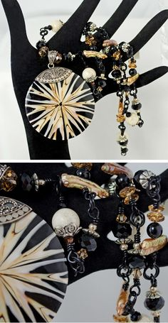 Necklace Sea Shell Pendant in Black, Brown, Ivory and Silver on Handmade Gemstone Chain, Biwa Pearl, Swarovski, Jasper, Black Onyx Gemstones by Lindy Lee Treasures