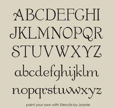 """French Chic Alphabet STENCIL Shabby font 1"""" CAPS & LC letters Country Art Signs #DesignsbyJoanie"""