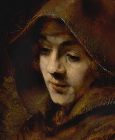 Rembrandt - 1660 - Titus van Rijn in a Monk`s Habit Rembrandt Portrait, Rembrandt Paintings, Portrait Art, Great Paintings, Old Paintings, Figure Painting, Painting & Drawing, Art Occidental, Baroque Painting
