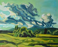 Erica Hawkes dramatic landscape paintings have a recognizable style with curved decorative lines inspired by natural forms and structures. Landscape Art, Landscape Paintings, Acrylic Paintings, Guache, Canadian Art, Art Studies, Unique Art, Painting Inspiration, Art Lessons