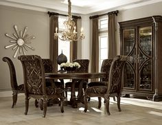 Gables Round Dining Table Accompanied By Upholstered Back Chairs And Wine Cabinet ART Furniture