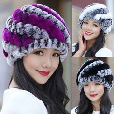 Casual Striped Knitted Rabbit Fur Hat | Stylish Beth