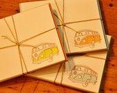 VW Bus : Letterpress Notecards - multiple color set $20