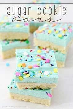 These Sugar Cookie Bars come together so easily and you probably have all of the ingredients on hand! No chilling, rolling or cutting like traditional Sugar Cookies - They're perfect for potlucks or a quick treat any time! The food that keeps us together Mini Desserts, Easy Desserts, Delicious Desserts, Baking Desserts, Oreo Dessert, Dessert Bars, Baking Recipes, Cookie Recipes, Bar Recipes