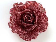 ワインのキラキラ薔薇ビーズコサージュ