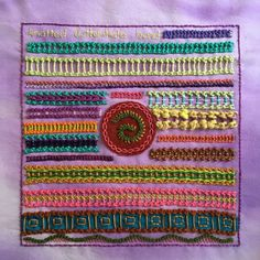 Knotted Buttonhole Band Embroidery Sampler for TAST, Week 54 | Mostly Knitting Blog