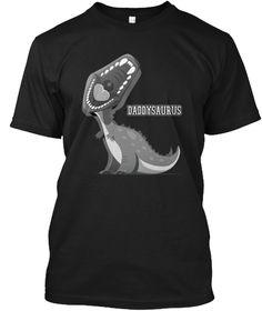 Daddysaurus Rex Papa Saurus T Shirt Black T-Shirt Front