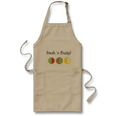 Fresh 'n Fruity Long Apron (Adults):Express yourself and tease with this fruit inspired apron. Watermelon, Kiwi, and Lemon are freshly sliced and ready fun. #apron #kitchen #barbecue #cooking #chef #fruit #watermelon #lemon #kiwi
