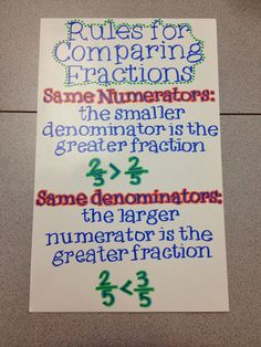 Great anchor chart for comparing fractions. Teaching Fractions, Math Fractions, Teaching Math, Comparing Fractions, Teaching Ideas, Ordering Fractions, Dividing Fractions, Multiplication, Math Charts