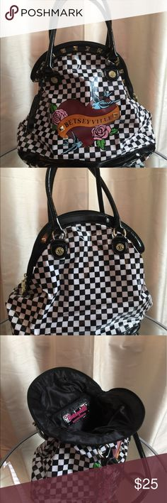 Betsy Johnson shoulder bag Adorable checkered pattern bag. Great for travel, super deep. Fantastic condition. Barely used. Betsey Johnson Bags Shoulder Bags