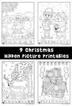 9 Christmas and winter themed hidden picture printable pages for kids.
