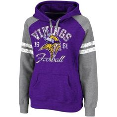 Minnesota Vikings Ladies Purple-Gray Huddle Pullover Hoodie Sweatshirt