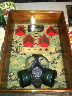 USMC military shadow box plaque for a Sergeant in the NBC field.
