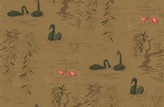 Swan Lake (NCW4020-07) - Nina Campbell Wallpapers - A beautifully observed lake scene of swans, weeping willow and waterlilies. Shown here with majestic black swans on a rich yellow gold lake. Please ask for sample for true colour match and to appreciate the metallic effect.