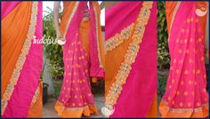 Orange chiffon and pink georgette sari with orange floral buttis finished with floral cut work borders Blouse: Orange semi raw silk(1meter) For order pls mail to indotus.couture@gmail.com
