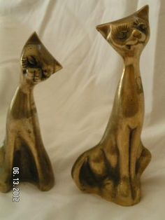 VINTAGE, SOLID BRASS COLLECTIBLE 2 KITTY CATS BY LEONARD