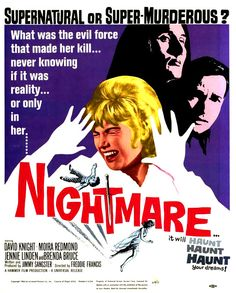 "Movie Poster for the Hammer Horror film ""Nightmare"" (1964), starring Jennie Linden and directed by Freddie Francis."