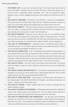 The 12 Laws of Karma. Something to live by. 12 Laws Of Karma, Laws Of Life, Little Buddha, Spiritual Awakening, Spiritual Quotes, Positive Affirmations, Law Of Attraction, Self Help, Good To Know