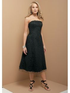 Lace Strapless scalloped sheer Neckline Tea-length A-line Bridesmaid Dress