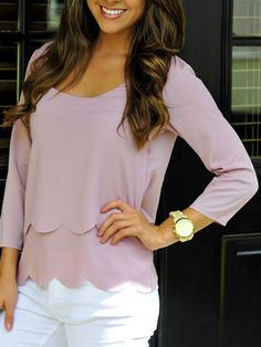 pink scalloped blouse