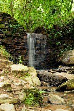 A waterfall at the ruins of a pre Civil War papermill in Marietta GA USA