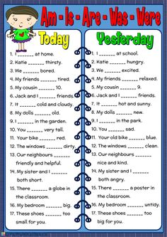 Am - Is - Are - Was - Were worksheet - Free ESL printable worksheets made by tea. Am - Is - Are - Was - Were worksheet - Free ESL printable worksheets made by teachers worksheet English Grammar For Kids, Teaching English Grammar, English Worksheets For Kids, Verb Worksheets, English Verbs, Kids English, English Activities, Grammar Lessons, English Language Learning