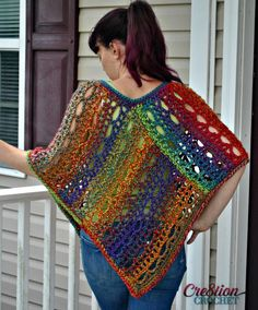 Free Crochet Poncho Pattern for women.  Easy lace design.  Two sizes.