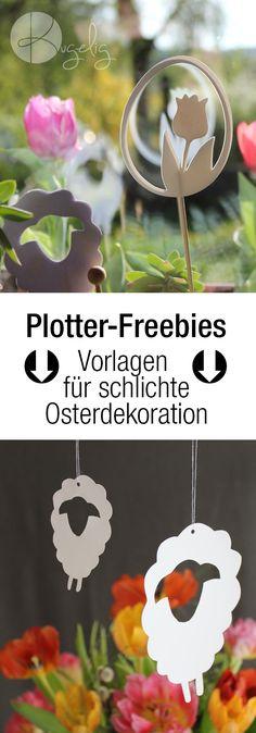 Plotterfreebies für schlichte Osterdekoration: Tulpen, Osterhasten, Osterlamm, Schafe, Osterglocken uvm. als DXF, SVG, PDF