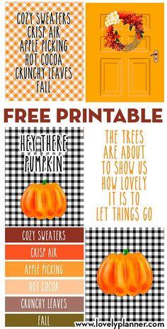 Set of 6 FREE printable Fall Wall Art Signs to decorate your home this season: mix and match these signs to create a unique fall decor. Pallet Pumpkin, Diy Pumpkin, Pumpkin Crafts, Pumpkin Ideas, Rustic Fall Decor, Fall Diy, Fall Crafts, Free Printables, Wall Art