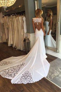 See-through Sheath Sleeveless Long Beach Wedding Dress with Lace,Bridal Dress,N624