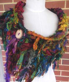 Earthy Tattered Recycled Sari Silk  Scarf Collar Wrap par plumfish, $55,00