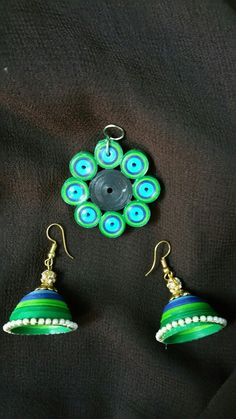 Quilled peacock jewellery set