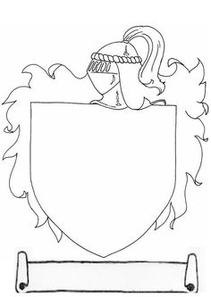 Free Coat of arms of a medieval knight to decorate coloring and printable page. Flag Coloring Pages, Free Coloring, Coloring Sheets, Coloring Books, Ctr Shield, Shield Drawing, Pikachu Coloring Page, Castle Crafts, Medieval Crafts