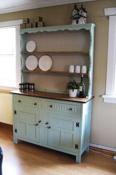 Welsh oak dresser in Laura Ashley eau de nil and lichen x